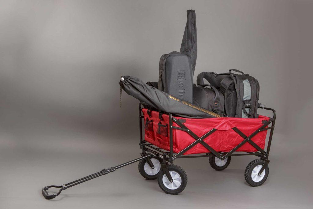 38kg Foto-Ausrüstung in einem Faltbollerwagen
